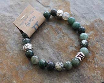 Moss Agate Bracelet, Gemini Bracelet, Zodiac Bracelet, Astrology Bracelet, Zodiac Jewelry, Green Stone Bracelet, Boho Bracelet