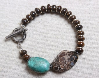 Bracelet - Turquoise and Bronzite with Fossilized Focal Stone - Rustic & Organic