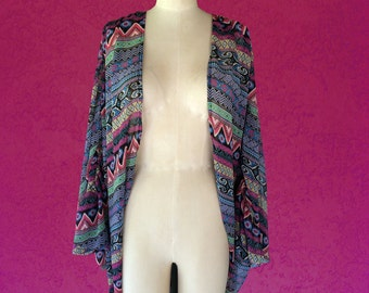 Cocoon Jacket / Cape Jacket / Batwing Jacket / Long Sleeve Jacket / Open Jacket / Chiffon Jacket / Tribal / Boho Print - One Size