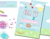 Pig invitation, Piggy invite, Piggy Birthday, Pig Birthday invitation, Peppa Pig inspired Printable, DIY