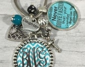 PERSONALIZED Key Chain, Sweet Sixteen Birthday, Monogram Initials, Guardian Angel, First Car, Cheerleader, Teal, 16, Volleyball, Daughter