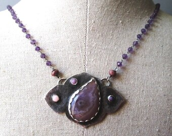 Purple Royal Aztec Agate Pendant with Pink Opal, Purple Phosphosiderite and Mohave Turquoise in Sterling Silver Amethyst Necklace Jewelry