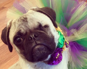 Mardi Gras Small Dog Tutu:  PURPLE, GREEN, YELLOW Doggie Tutu - Small - Ready To Ship