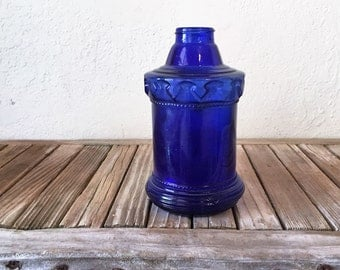 Vintage Cobalt Blue Bottle Made In Hong Kong