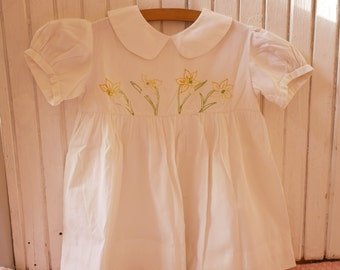 Vintage white cotton girl dress