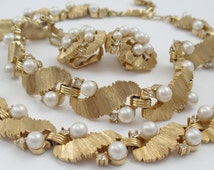 Vintage Crown Trifari Set, Necklace Bracelet Earrings, Rhinestone and Faux Pearls 1960s Jewelry Parure