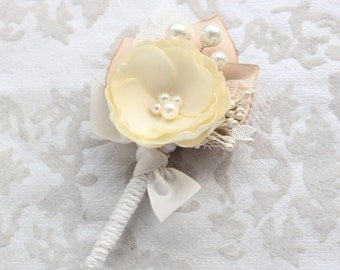 Ivory Beige Wedding Boutonniere/ Mens Boutonniere/Ivory Lapel Pin/ Handmade Accessory