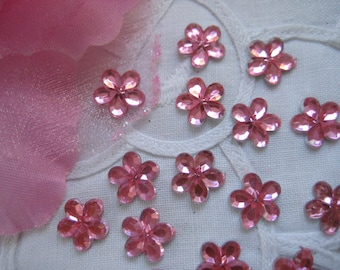 """10 mm Pink Flower Rhinestones for scrapbooking, Crafting, Wedding, Invitation Card, Baby shower, 3/8"""", 50 or 100 pcs"""