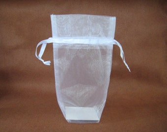 "5"" x 8"" x 2.5"" White Gusseted Organza Drawstring Favor Bags, Jewelry Pouch, Wedding, Baptism, Christening, First Communion Favor, 10 pieces"