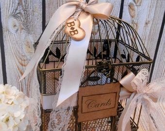 Large Satin and Lace Wedding Birdcage Card Holder / Wedding Card Holder / Wedding Card Box / Large Wedding Birdcage