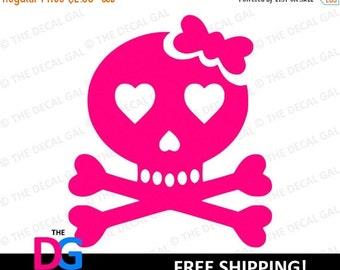 """30% OFF - Skull & Crossbones Vinyl Decal Sticker - FREE SHIPPING - 2"""" 3"""" 4"""" 5"""" 6"""" 7"""" 8"""" 9"""" 10"""" 11"""""""