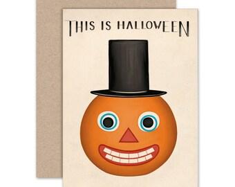 Halloween Greeting Card, Vintage Halloween Notecard, This Is Halloween, Jack O'Lantern Art