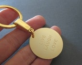 Gold Laser Engraved Name Keychain - 2 different pendant sizes