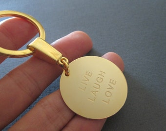 Personalized Gold Laser Engraved Name Keychain - 4 different pendant sizes