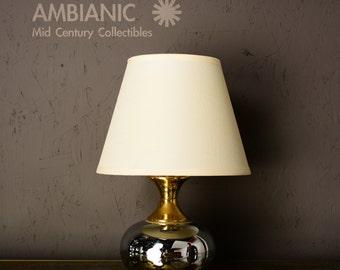 Mid Century Modern Chrome & Brass Table Lamp
