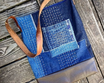Denim Crossbody Tote Bag With Boro and Sashiko Details and Vintage Leather Belt Strap