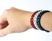 Braided Leather Bracelet Trio / Red White and Sparkle