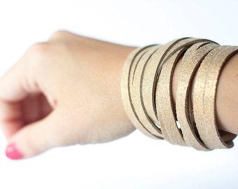 Leather Bracelet / Original Sliced Wrap Cuff / Luminous