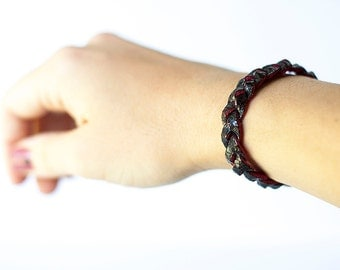 Braided Leather Bracelet / Dark Side