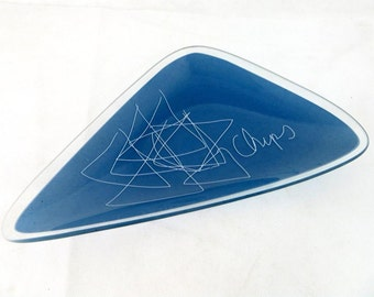 SALE! Modernist Abstract Serving Dish, Midmod Retro Kitsch Joseph Joseph Glass Triangular 'Chips' Graphic Script Platter Dish