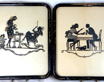 Pair Art Deco Silhouettes, Original Antique Framed Intricate Hand-Cut Paper-Craft Afternoon Tea Scenes Signed Kaskewne 1920s
