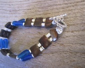 carved wood and shell bracelet, two strand wood and blue glass bracelet, hawaiian handmade, unique tropical jewelry