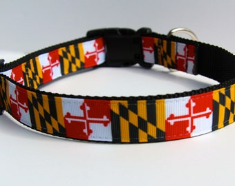 "Maryland flag dog collar, Maryland collar,  martingale Dog collar, Buckle dog collar gifts,  1"" wide dog collar, pet accessory, pet gifts"