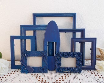 Blue Hawaii Picture Frame Set Photo Collection Beach Cottage Coastal Seaside Nautical Tropical Island Surfer Home Decor Destination Wedding