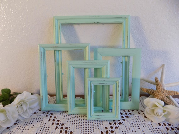Light Green Picture Frame Set Shabby Chic Upcycled Vintage Wood Photo Decoration Spring Summer Wedding Garden Cottage Country Home Decor