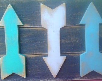 Gray and Aqua Wooden Arrows Sign, Home Decor Arrows Hanger, Gallery Wall Arrows Signage