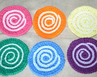 Hand crocheted set of 6 coasters