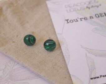 You're a Gem - Malachite Gemstone Stud Earrings
