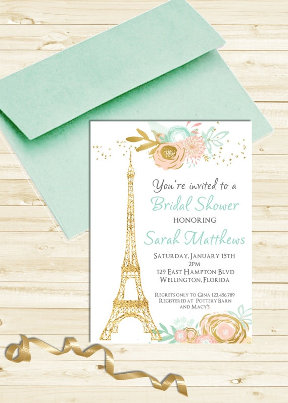 Mint and Pink Paris Baby or Bridal Shower Invitation