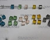 60 pieces Swarovski Element 5601 4mm Cube Crystal Beads mixed Colors - promotional set 1