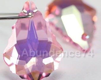 2 pcs Swarovski Crystal 6090 Baroque Pendant 22mm Crystal LIGHT ROSE AB