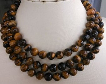 free shipping- 32/48inch 10mm tiger's eye stone long neckalce