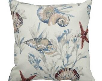 nautical pillows, sunroom pillows, outdoor pillows, seashell pillows, outdoor pillow covers, nautical toss pillow, nautical outdoor pillow