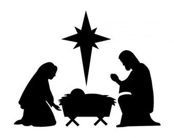 Christmas decal, Nativity scene vinyl decal, Holy Family window sticker