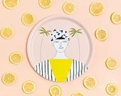 Tray, serving tray, illustrated tray, round tray, melanine tray, birch wooden tray, breakfast tray, woman with palms, illustration Depeapa