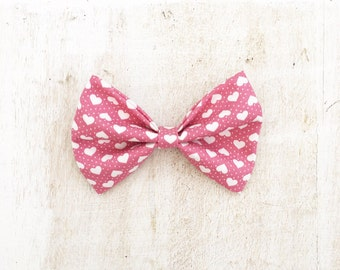 Vintage Dusky Pink Hair Bow with White Love Heart Print, Pin Up girl