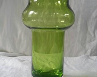 Mid Century Modern Green Glass ASEDA vase by BO BERGSTRÖM Sweden