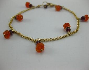 Carnelian - Garnet - 14 K Gold Filled - Charm Bracelet - 3169