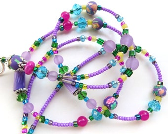 VIBRANT PURPLE- Beaded ID Lanyard Badge Holder- Polymer Clay, Jade, Lucite Beads, and Crystals (Magnetic Clasp)