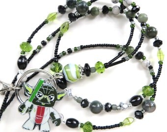 YODA- Beaded ID Lanyard Badge Holder- Lampwork, Serpentine and Indian Jasper, Pearls, and Sparkling Crystals (Magnetic Clasp)