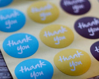 Thank You Stickers - 38mm Round Circle Sticker Seals - 54 seals