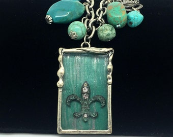 Turquoise Fleur De Lis Chunky Necklace  Boho Pendant    Beaded Necklace  item 1570