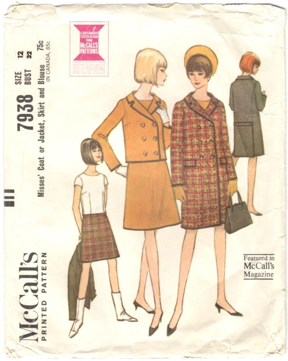 1960s coat, suit, and blouse pattern after Courrèges - McCall's 7938