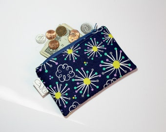 Coin Zip, violet flower, coin pouch