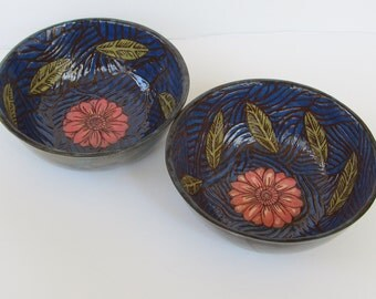 ceramic cereal/salad bowls (set of 2); ceramics and pottery; hand built pottery