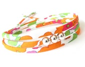 Sweet 16 birthday gift for girls, fresh summer colours of apple green and neon orange, fabric wrap with silver beads, stackable bracelet